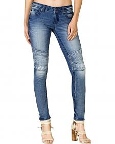 Miss Me Moto Embroidered Floral Skinny Jeans