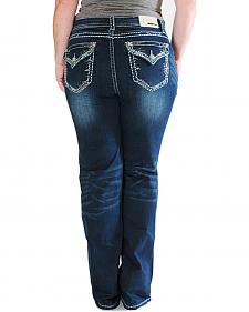 Grace in LA Thick Stitch Rim Dark Wash Bootcut Jeans - Plus Sizes