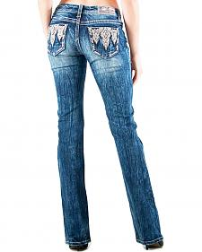 Grace in LA Women's Easy Fit Aztec Pocket Bootcut Jeans