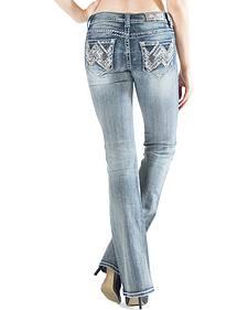 Grace in LA Women's Light Wash Abstract Easy Fit Bootcut Jeans