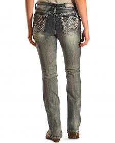 Grace in LA Women's Medium Wash Abstract Jeans - Bootcut