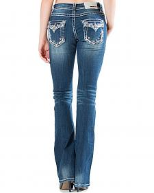 Grace in LA Medium Wash Floral Flap Pocket Bootcut Jeans