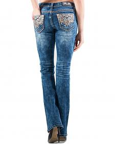 Grace in LA Easy Fit Bootcut Lattice Scroll Jeans
