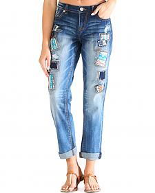 Grace in LA Women's Light Wash Patched Boyfriend Jeans