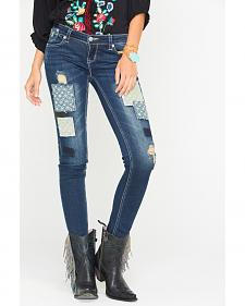 Grace in LA Women's Skinny Patchwork Jeans