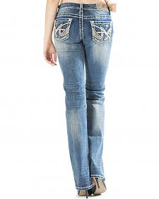 Grace in LA Women's Medium Wash Abstract Easy Fit Bootcut Jeans