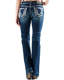 Grace in LA Women's Dark Wash Abstract Easy Fit Bootcut Jeans