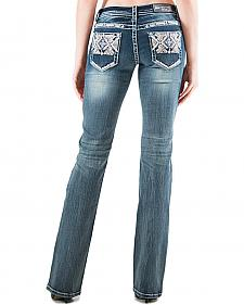 Grace in LA Light Wash AztecPocket Bootcut Jeans