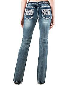 Grace in LA Light Wash AztecPocket Bootcut Jeans