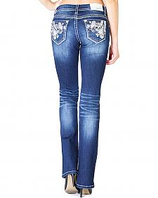 Grace in LA Women's Scroll Pocket Easy Fit Bootcut Jeans