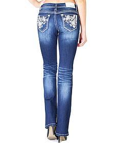 Grace in LA Women's Scroll Pocket Easy Fit Bootcut Jeans