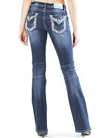 Grace in LA Women's Embellished Flap Pocket Easy Fit Bootcut Jeans