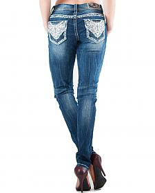 Grace in LA Lattice Scroll Pocket Skinny Jeans