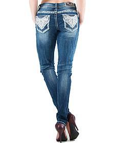 Grace in LA Lattice Scroll Pocket Skinny Jeans