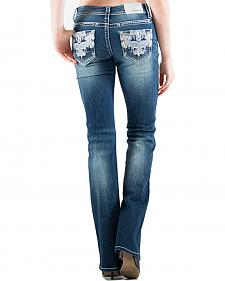 Grace in LA Women's Embellished Paisley Pocket Easy Fit Bootcut Jeans