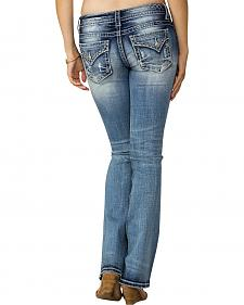Miss Me Women's Indigo Signature Rise Feather Emblem Jeans - Boot Cut