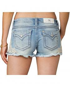 Miss Me Women's Blue Applique Lace Side Shorts