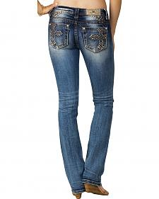 Miss Me Women's Indigo Cross Embroidered Jeans - Slim Boot Cut