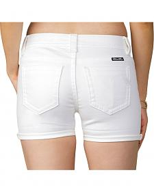 Miss Me Women's White Mid-Rise Shorts