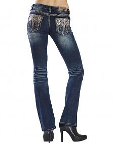 Grace in LA Women's Dark Wash Diamond Cross Bootcut Jeans