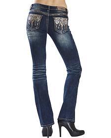 Grace in LA Women's Dark Wash Diamond Cross Bootcut Jeans