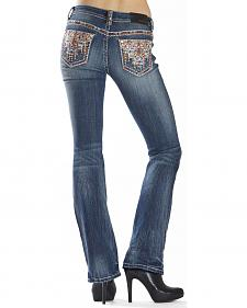 Grace in LA Women's Easy Fit Aztec Stitch Bootcut Jeans