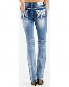 Grace in LA Women's Medium Wash Aztec Bootcut Jeans
