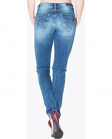 Grace in LA Women's Medium Wash Plain Pocket Skinny Jeans