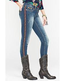 Grace in LA Women's Boho Trim Straight Leg Jeans