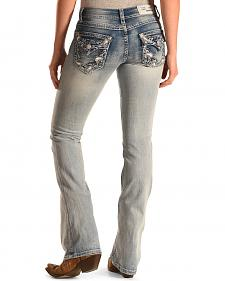 Grace in LA Women's Light Wash Paisley Bootcut Jeans