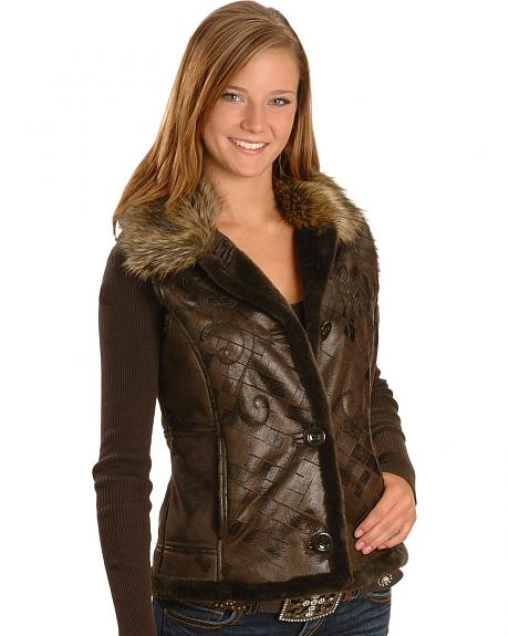 Embossed & Embroidered Faux Fur Vest