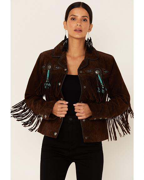 Scully Fringe & Beaded Boar Suede Leather Jacket