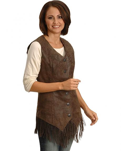 Powder River Outfitters Fringe Pig Leather Vest