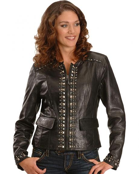 Cripple Creek Studded Black Leather Jacket
