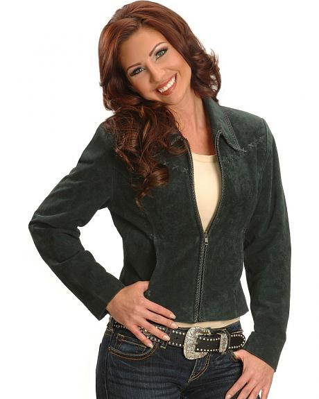 Cripple Creek Pine Suede Leather Western Jacket