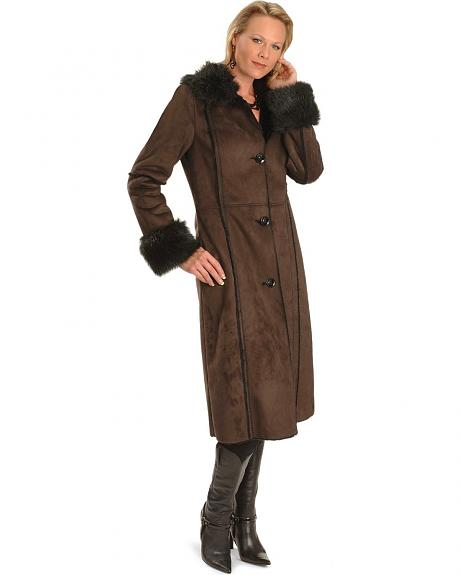 Powder River Outfitters Faux Suede & Fur Long Coat