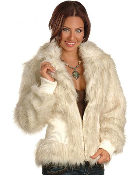 Powder River Outfitters Cream Faux Fur Coat