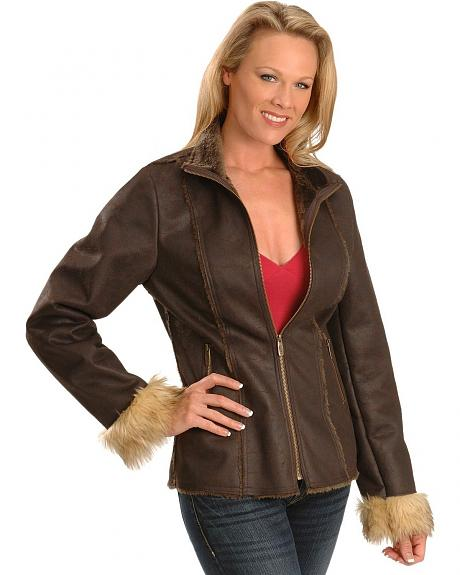 Powder River Outfitters Distressed Faux Suede & Fur Jacket