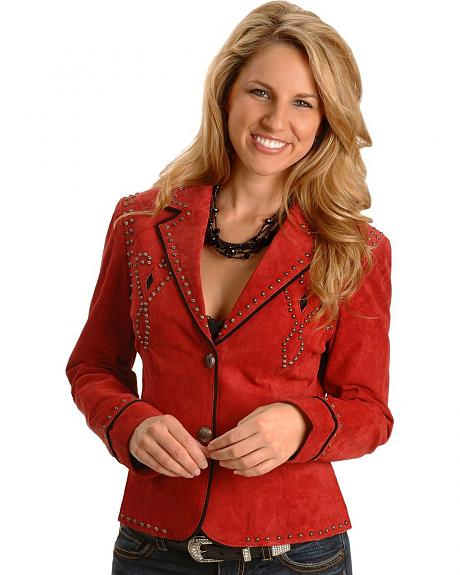 Scully Red Studded Suede Leather Jacket