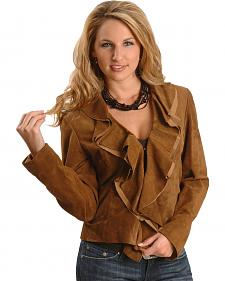 Scully Ruffled Suede Leather Jacket