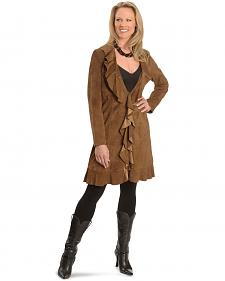 Scully Ruffle Suede Leather Long Jacket