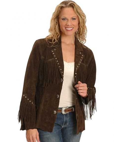 Cripple Creek Studded Twisted Fringe Leather Jacket