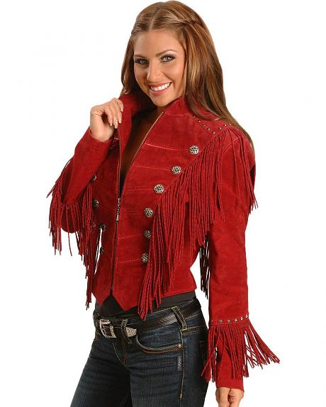 Cripple Creek Military Style Fringe Suede Leather Jacket