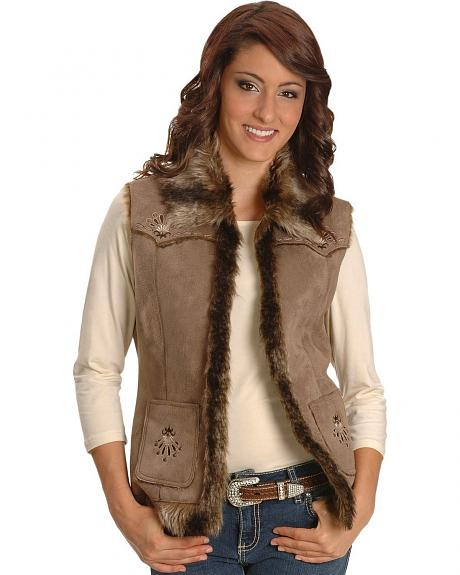 Sidran Embroidered Leather-like Western Vest