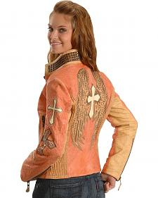 Corral Salmon Winged Cross Leather Jacket
