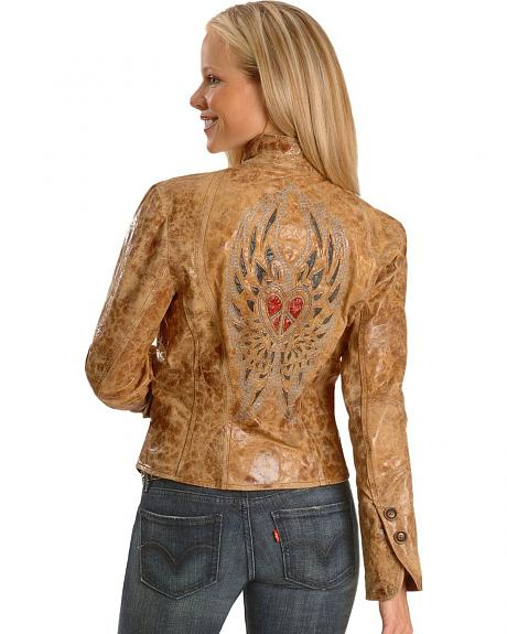 Corral Brown Winged Heart Leather Jacket