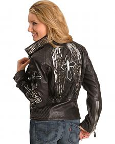 Corral Wing & Cross Black Leather Jacket