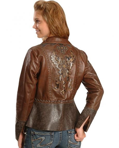 Corral Exotic Black Inlay Cross Leather Jacket