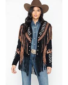 Liberty Wear Black Fringe Leather Jacket