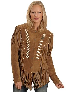 Liberty Wear Bone Bead & Fringe Leather Jacket